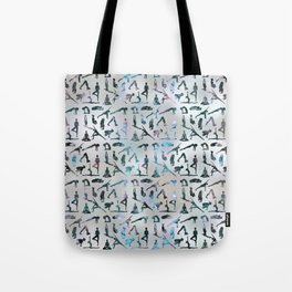 Yoga Asanas / Poses Sanskrit Word Art  Labradorite on pearl Tote Bag