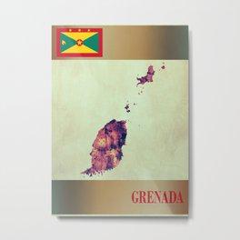 Grenada Map with Flag Metal Print