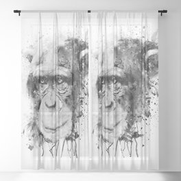 Watercolor Chimpanzee Black and White Sheer Curtain