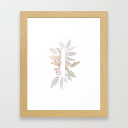 Rustic Initial I - Fall Leaves and Branches Framed Art Print