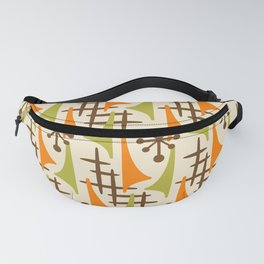 Retro Mid Century Modern Atomic Wing Pattern 426 Brown Orange and Olive Green Fanny Pack