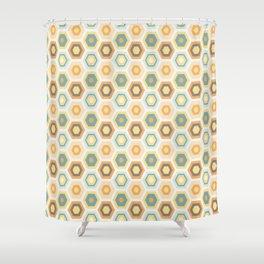 Modern Hexagonal Honeycomb Pattern - Orange and Teal Shower Curtain