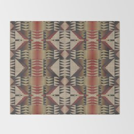 Native American Indian Tribal Mosaic Rustic Cabin Pattern Throw Blanket