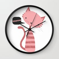 meow Wall Clocks featuring Meow by Vickn