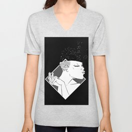 Losing Her Mind Simple Woman Smiling In Monochrome With Clasped Hands Cartoon Style Unisex V-Neck