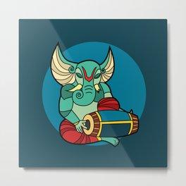 Ganesha Loves Music Metal Print