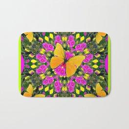 Modern Yellow Butterfly Chartreuse-Green Pattern Pink Art Bath Mat