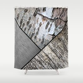 Birch Bark and Digital Brushed Silver Metal Shower Curtain