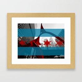 Flamingo Chicago Flag Framed Art Print