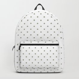 Classic Small White Polka Dot Spots on Desert Sage Grey Green Backpack
