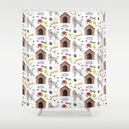 Poodle Half Drop Repeat Pattern Shower Curtain