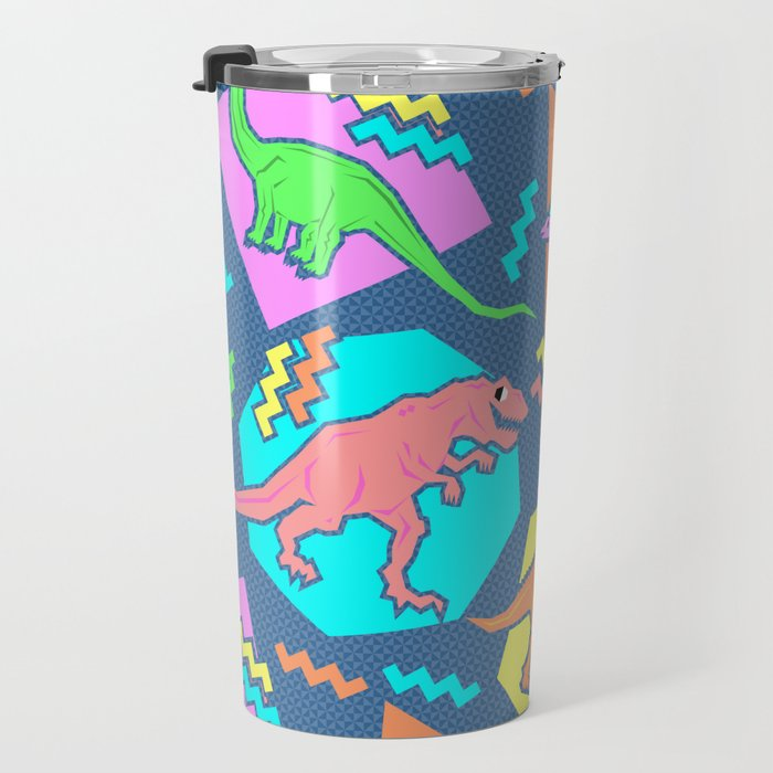 Nineties Dinosaur Pattern Travel Mug