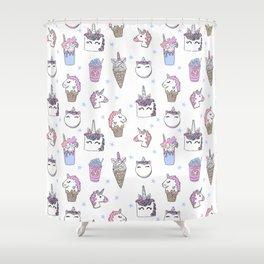 magical unicorn foods cakes cupcakes icecream cones with unicorns Shower Curtain