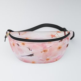 Cherry pink blossoms watercolor painting #13 Fanny Pack