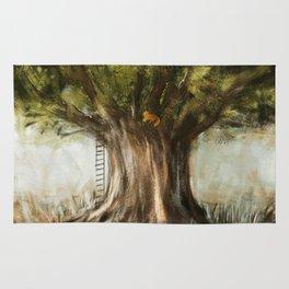 little fox on tree Rug