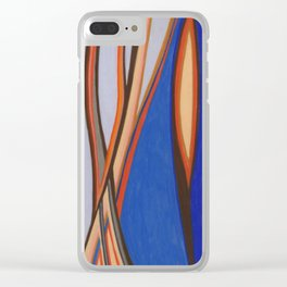 Retro Blues Browns Oranges Line Design with Pastels by annmariescreations Clear iPhone Case
