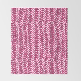Hand Knit Hot Pink Throw Blanket