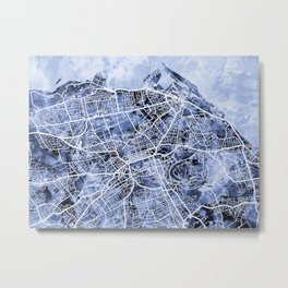 Edinburgh City Street Map Metal Print