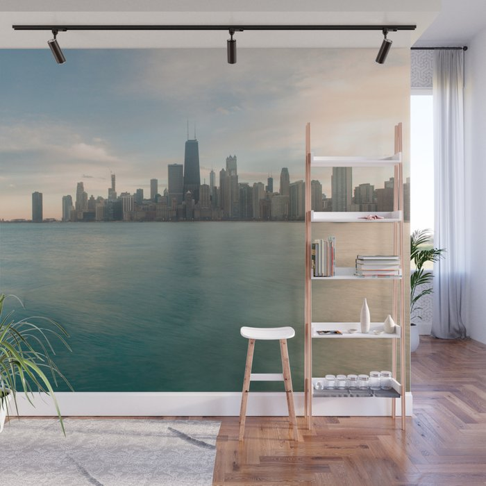 Tonight Chicago Skyline Photography Wall Mural