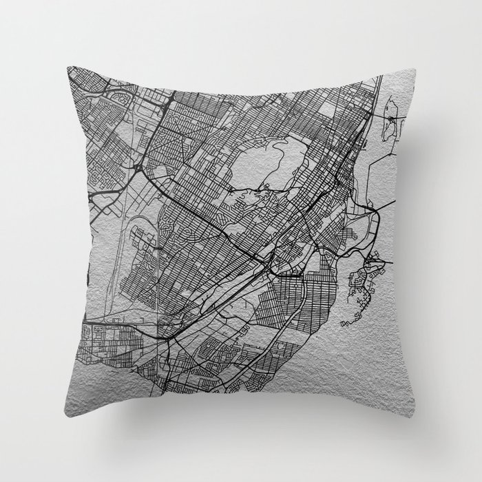 Black and white Montreal map Throw Pillow
