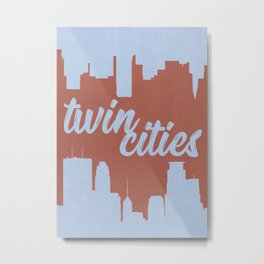 Minneapolis and Saint Paul Minnesota Twin Cities-Red and Blue Metal Print
