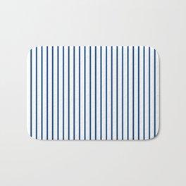 Morning Glory Blue Pin Stripe on White Bath Mat