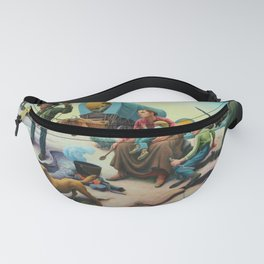 Missouri Settlers meeting Native American's on the Great Plains landscape painting by Thomas Hart Benton Fanny Pack