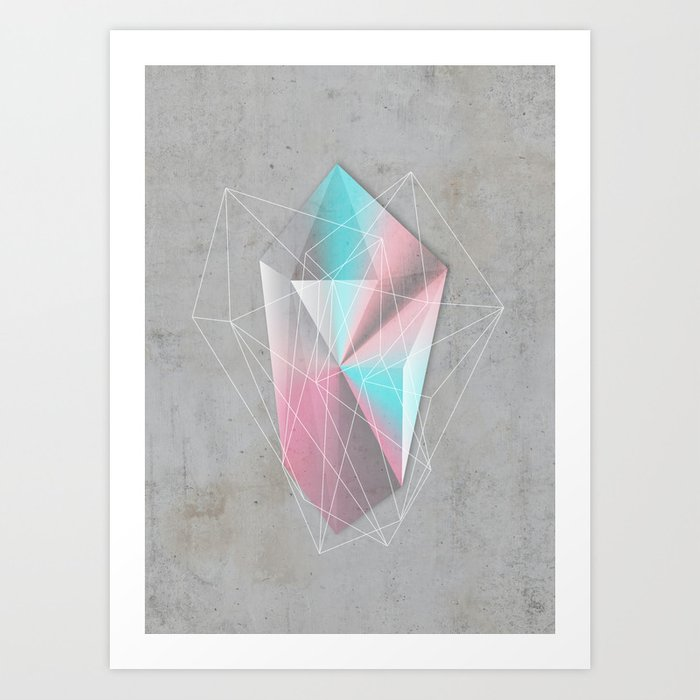 Iridescent Geometry Gem Art Print