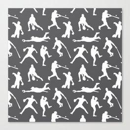 Baseball Players // Charcoal Canvas Print