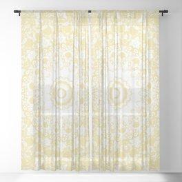 White Lace Mandala on Sunshine Yellow Background Sheer Curtain