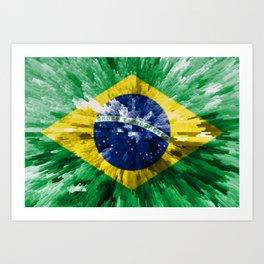 Extruded flag of Brazil Art Print