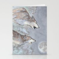 wolves Stationery Cards featuring Wolves by Jen Hallbrown