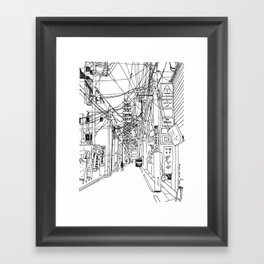 Osaka - downtown street Framed Art Print
