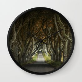 Dark Hedges alley in northern Ireland Wall Clock