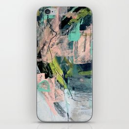 Connect [4] : a vibrant acrylic abstract in neon green, blues, pinks, & hints of orange iPhone Skin