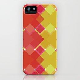 Red Criss-Cross Sqaures Geometric Digital Pattern iPhone Case