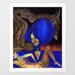Darlings & Dragons Blue Hair Art Print