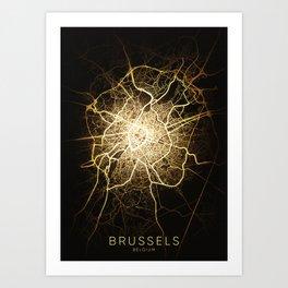 brussels belgium europa city night light map Art Print