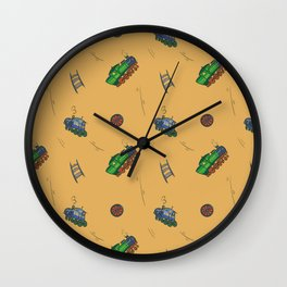 Happy Train Pattern with yellow background Wall Clock