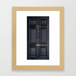 Haunted black door with 221b number Framed Art Print