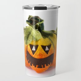 Pumpkin handmade from felted wool for celebration of Halloween Travel Mug