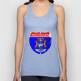 Michigan Flag Icons As Interstate Sign Unisex Tank Top