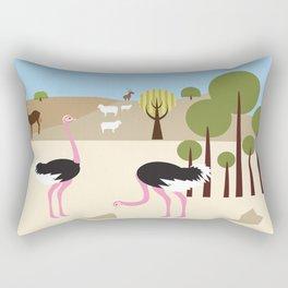 Ostriches in the desert Rectangular Pillow