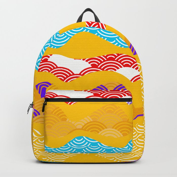 Summer bright pattern  scales simple Nature background with Chinese wave circle pattern Backpack