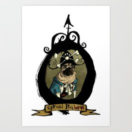 Captain Pug(wash) Art Print