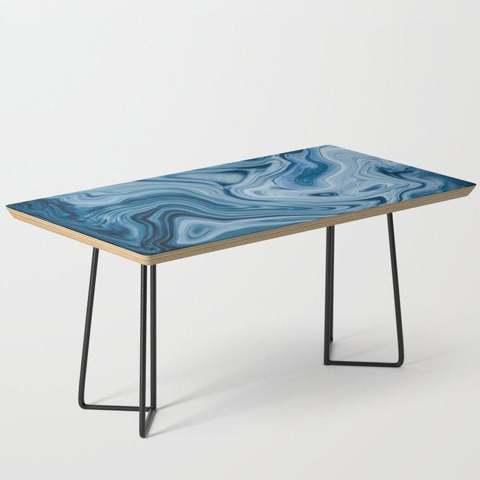 Splash of Blue Swirls, Digital Fluid Art Graphic Design Coffee Table
