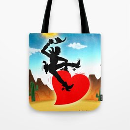 Cowboy Riding a Wild Heart Tote Bag