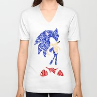 sonic V-neck T-shirts featuring Typography SONIC! by KeenaKorn