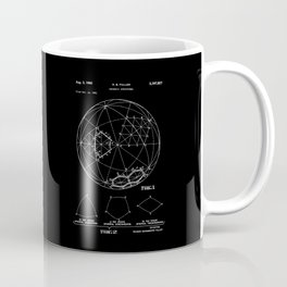 Buckminster Fuller 1961 Geodesic Structures Patent - White on Black Coffee Mug
