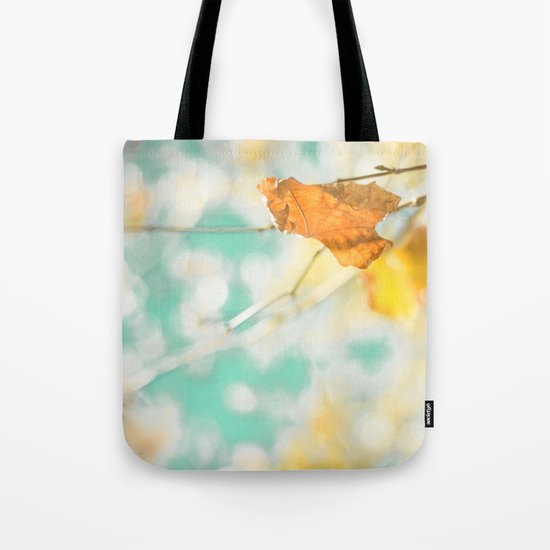 Gold Autumn Fall Leafs on Dreamy Blue Turquoise Vintage Retro Sky  Tote Bag